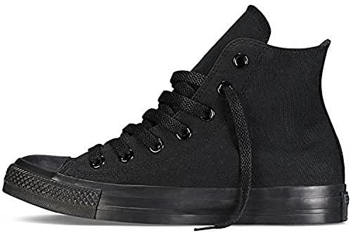 Converse Unisex Chuck Taylor All Star High Top Sneakers Optical White (7.5 B(M) US Women / 5.5 D(M) US Men, Black Monochrome)