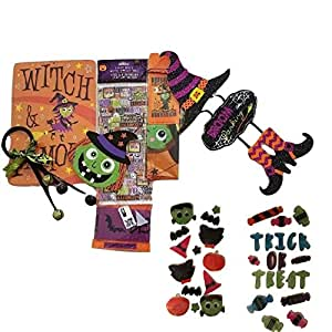 Decorate Your Home or Classroom with Witches, Door Hanger with Bell, Beware Tape, Witch Wall Hanger, Whimsical Sign with Says, Window Gel Clings, Loot Bags Bundle