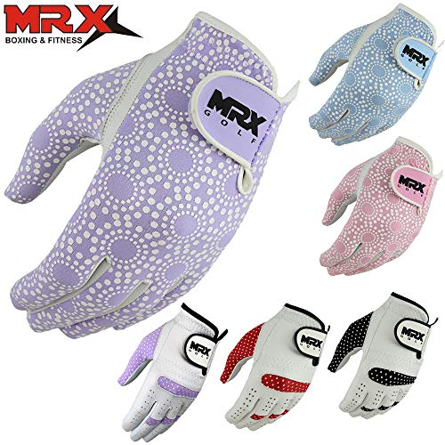 (MRX BOXING & FITNESS Women's Golf Glove Soft Cabretta Leather Regular Fit Women Golfer Gloves Left Hand (Purple-Medium))