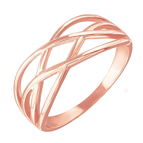 High Polish 10k Rose Gold Celtic Knot Ring for Women (Size 8.5)