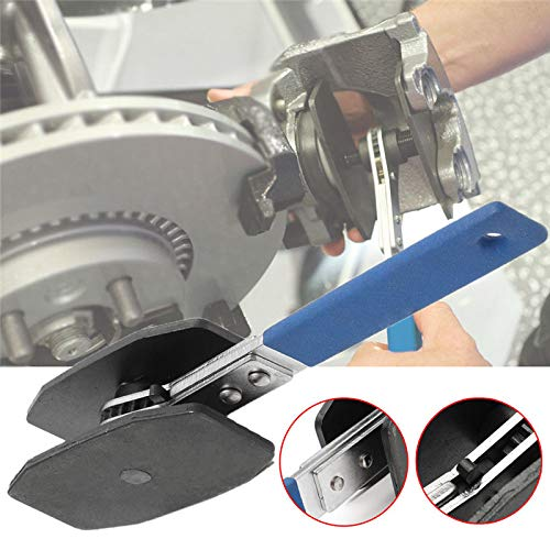 Blue Brake Caliper Press,TUTOOLS Car Brake Caliper Ratcheting Piston Spreader Press Tool,Wrench Spreader Tools with 2 pcs Steel Plates,360 Degree Ratchet Swing