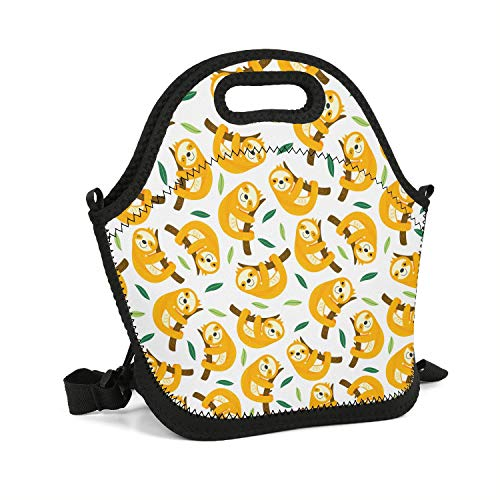 (bnvbb Yellow Sloth Cute Lunch Box Neoprene Zipper Portable Travel Fashionable Handbag Pouch Thick Detachable Adjustable Shoulder Strap for)