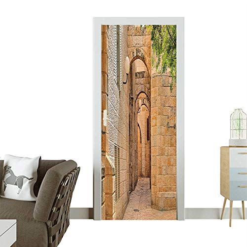 (Door Sticker Wall Decals Israel Jerusalem Architecture Streets Hous Image Photo Multicolor Easy to Peel and StickW38.5 x H79 INCH)