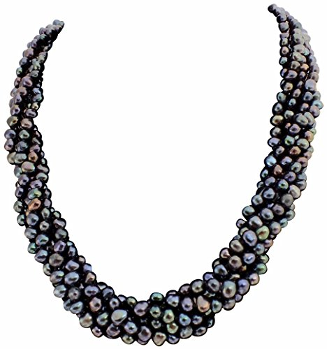 Baroque Pearl Necklace Strands Double (Black/Peacock Baroque Cultured Pearl Six Strand Chunky Necklace with A Sliding Silver (925) Clasp)