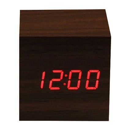 Reloj despertador digital de madera LED, con fecha de hora y pantalla de temperatura,
