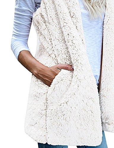 Hoodie Minetom Chaud Sans Manches Poches Gilet Sherpa Hiver Printemps Manteau Avec Femmes Outwear Cardigan Veste gx55n1Bq