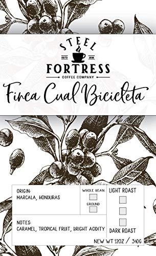 Steel Fortress Honduran Whole Bean Coffee, Medium Honey Roast, 12 oz. Bag