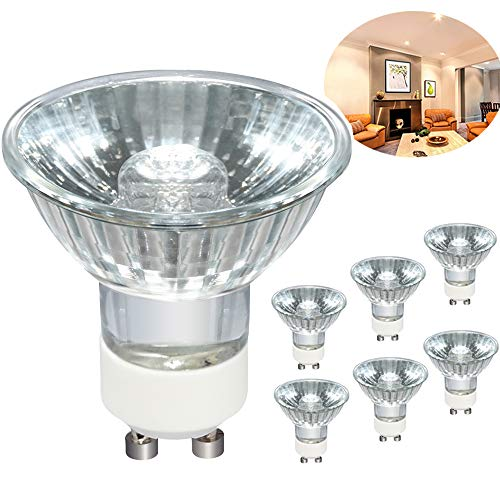 GU10 Bulb, 6pcs 120V 50W GU10 Halogen Flood Light Bulbs, Premium Quality for Long Lasting Life, GU10 Base, MR16/FL/GU10, MR16 with Glass Cover for Accent Light, Tracking Light, Landscape Lights
