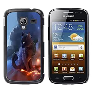 LECELL -- Funda protectora / Cubierta / Piel For Samsung Galaxy Ace 2 I8160 Ace II X S7560M -- Black Thunder Cat --