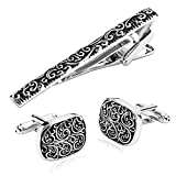 KnSam Men Stainless Steel Tie Bar Shirt Stud Set Black Silver Rectangle Ivy Pattern