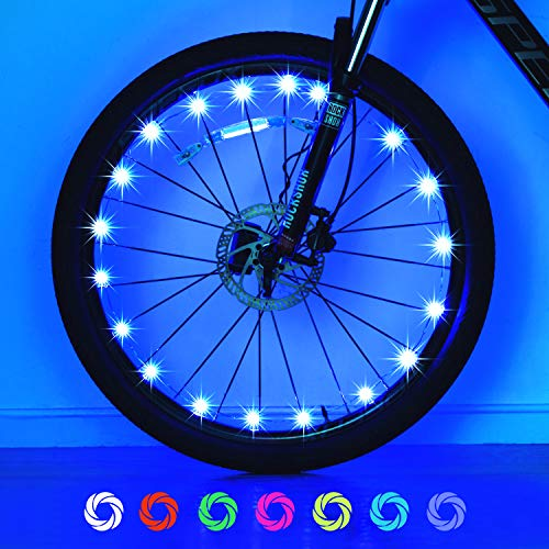 Exwell Bike Wheel Lights, 7 Colors in 1 Bike Lights,Safety at Night,Switch 9 Modes LED Bike Accessories Lights, AA Batteries(2 Pack) (USB Rechargable - 1Pack) (Glowing Bicycle Wheels)
