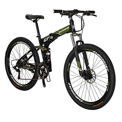Eurobike Mountain Bike EURG7 21 Speed 27.5 Inches Spoke Wheel Dual Suspension Folding Bike Dual Disc Brake MTB Bicycle Army Green (Best Full Suspension Mtb)