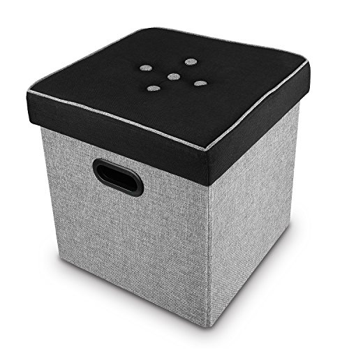 Cheap Ikee Design Folding Storage Ottoman – Black, Gray Linen Collapsible Cube Foot Rest Stool Seat Multi-function File Holder with Hole Handle