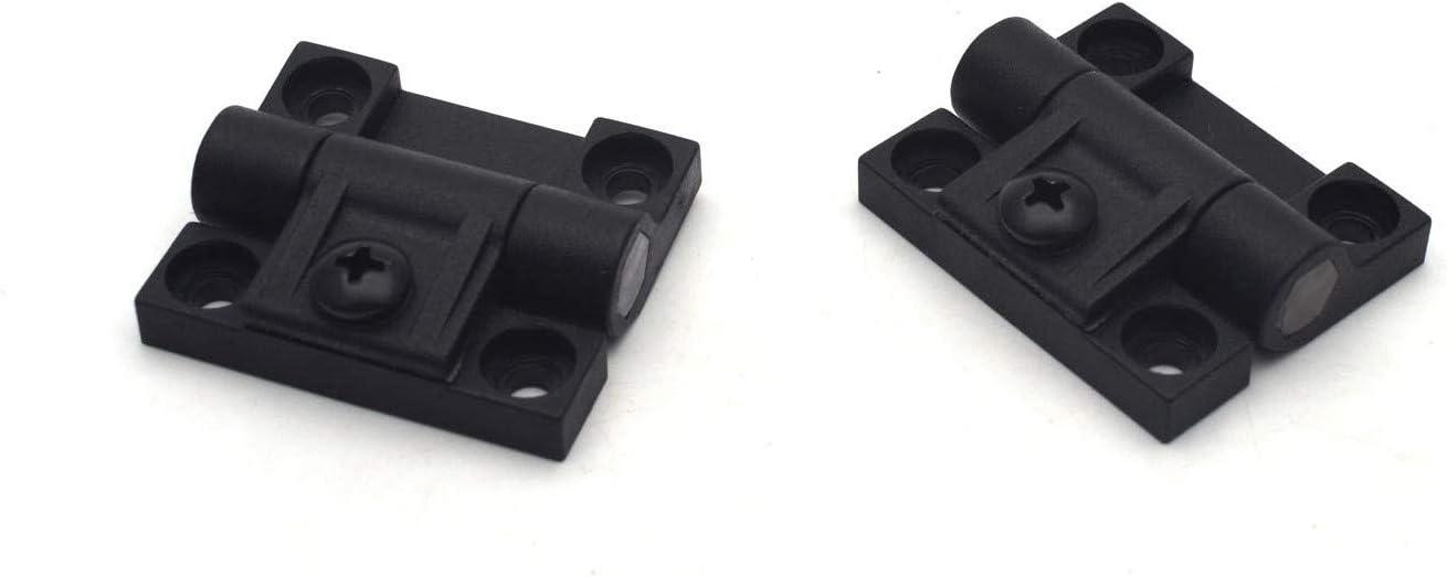 XMHF 2 Pack 43mmx36mm 4 Countersunk Holes Plastic Adjustable Torque Position Control E6-10-301-20 Series Hinge Black Door Hinges Black