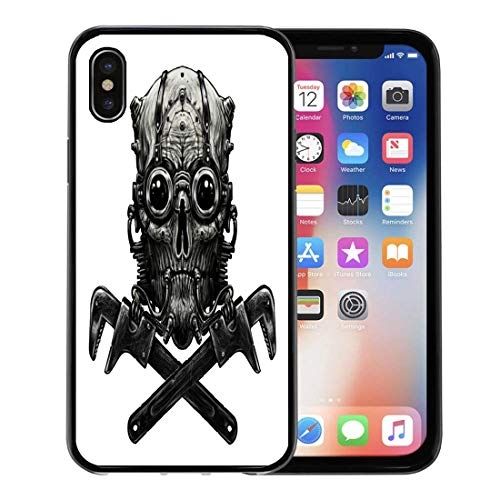 Semtomn Phone Case for Apple iPhone Xs case,Cyberpunk Steampunk Skull Adjustable Wrench Digital Machine Punk Adult for iPhone X Case,Rubber Border Protective Case,Black