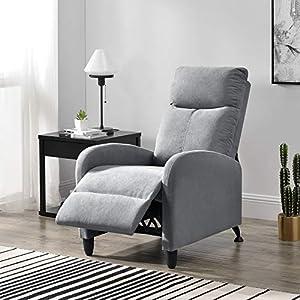 [en.casa] Fauteuil Relaxant avec Dossier Inclinable et Repose-Pieds Housse Textile Gris Clair 102x60x92 cm