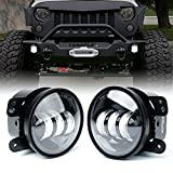 Xprite 4' Inch LED Fog Lights for 07-18 Jeep Wrangler JK Unlimited JK | Front Bumper Replacements 60W White CREE Led Chip Driving Offroad Foglights