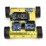 SainSmart MEGA R3 + Mobile Car + HC-SR04 Distance Sensor + 4WD Drive Mobile Robot Platform + Sensor Shield + L298N Dual H Bridge Stepper for Arduino UNO MEGA R3 Mega2560 Duemilanove Nano Robot XBee ZigBee