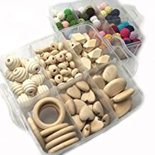 Amyster DIY Baby Teether Toys Accessories Kit 2 Boxed Wood Hearts Spiral Beads Oblong Geometric Wood Beads Rectangle Oval Flat Chips Abacus Beads And 14mm(0.55inch) Mixed Colour Crochet Beads Blending Creative Freedom For Baby Teething Necklace Decoration (A112+A130)