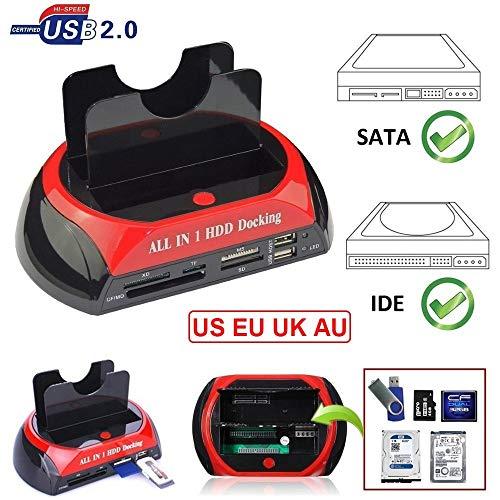 Techlab HDD Docking Station IDE SATA Dual USB 2.0 Clone Hard Drive Card Reader2.5'/3.5' SATA I/II HDD SSD with Clone Function