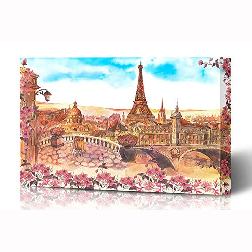Ahawoso Canvas Prints Wall Art 16x12 Inches Watercolor Vintage Paris Painting City Parks Pink France Above Balcony Wooden Frame Printing Home Living Room Office Bedroom