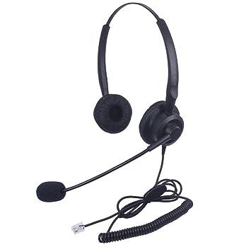 Xintronics Auriculares Teléfono Fijo Binaural RJ9, Cascos con Cancelación de Ruido Micrófono para Plantronics M10