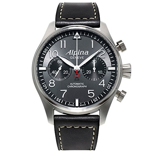Alpina Startimer Pilot Chronograph  AL860GB4S6 44mm Automatic Stainless Steel Case Black Calfskin Anti-Reflective Sapphire Men's Watch