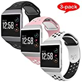 For Fitbit Ionic Bands, VODKE Soft Silicone Replacement Sports watch Bands/Strap/Bracelet/Wristband Accessory For Fitbit Ionic Men Women Small Pack of 3pcs Type 3