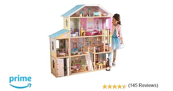 KidKraft- Majestic Mansion Casa de muñecas de madera con muebles y accesorios incluidos, 4 pisos, para muñecas de 30 cm , Color Multicolor (65252)
