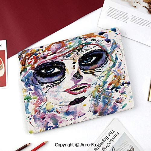 Sugar Skull Decor Samsung Galaxy Tab A 8.0 Case (2015 Old Model) - Standing Cover Folio Case,Halloween Girl with Sugar Skull Makeup Watercolor Painting Style Creepy Decorative]()