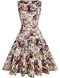 OTEN Women's Vintage 1950 Swing Cocktail Party Sleeveless Floral Spring Tea Dress