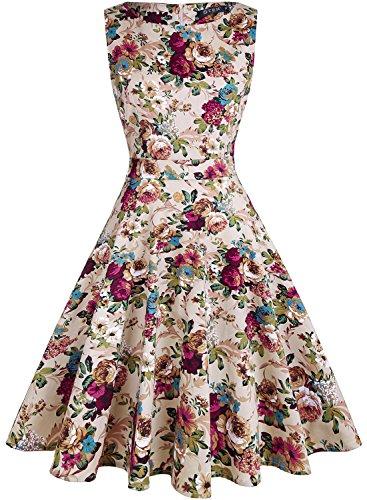 (OTEN Womens Vintage 1950s Tea Dress Floral Spring Garden Party Rockabilly Cocktail Swing Dresses, Small, Khaki+floral)