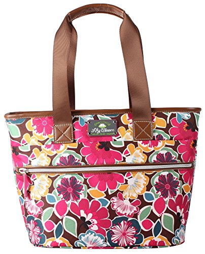 Blooms Floral (Lily Bloom Large Insulated Lunch Cooler/Tote with Pack-n-Go Containers - Made from Recycled Plastic Bottles (Firework Floral Brown))