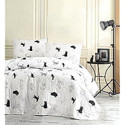 decomood animales gatos ropa de cama, individual/doble tamaño Colcha/Juego de sobrecama, diseño especial gatito Kitty temática, blanco y negro niñas niños ropa de cama, 2pcs, hecho en Turquía