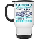 Real Grandpas Drive Hot Rods Travel Mug, Some Grandpas Play Bingo Mug (Travel Mug - White)