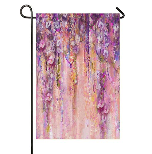 HOOSUNFlagrbfa Jianyue Wisteria Tree in Blossom Life is a Journey Enjoy The Ride Decorative Garden Flag, Inspirational Camper Yard Sign