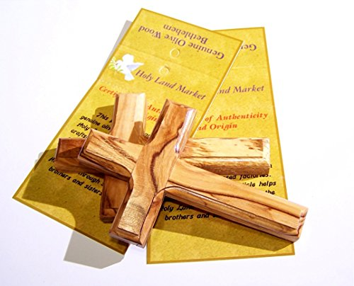 Pair of Olive wood Crosses from Bethlehem with a Certificate and Lord prayer cards (4 Inches) (Olive Wood Wall Cross)