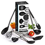 Cooking Utensils - Stainless Steel and Silicone Cooking Utensil Set - 7 Piece Kitchen Utensils. Enjoy Today the Safeness for Your Pans and Pots & Comfort for Yourself