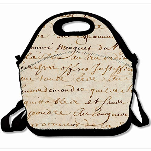 - Ahawoso Reusable Insulated Lunch Tote Bag Vintage French Script Grunge Parchment Paper Retro 10X11 Zippered Neoprene School Picnic Gourmet Lunchbox