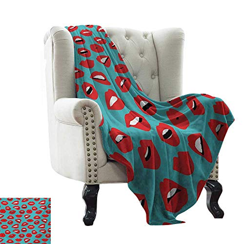 """LsWOW Puppy Blanket Kiss,Retro Woman Mouth Red Lipstick Girl Expressing Different Emotions Female Vintage,Teal Red White Super Soft Faux Fur Plush Decorative Blanket 30""""x50"""""""