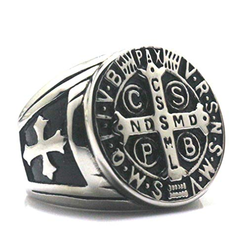 Faithre Church Christianity Jesus Exorcism Silvercross Ring Stainless Steel 10 by Faithre