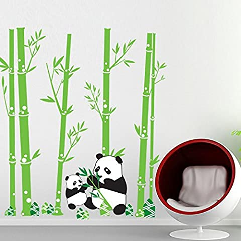Wall Decal Lovely Pandas Eating Bamboo Home Sticker Paper Removable Living Dinning Room Bedroom Kitchen Art Picture Murals DIY Stick Girls Boys kids Nursery Baby Playroom - Bamboo Wall Decals