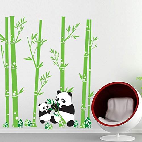 Fold Pp Wall (Wall Decal Lovely Pandas Eating Bamboo Home Sticker Paper Removable Living Dinning Room Bedroom Kitchen Art Picture Murals DIY Stick Girls Boys kids Nursery Baby Playroom Decoration)