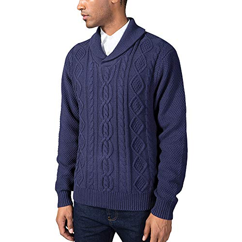 Kallspin Mens Relaxed Fit Solid Shawl Collar Sweater Pullover Cable Fisherman (Navy Blue, -