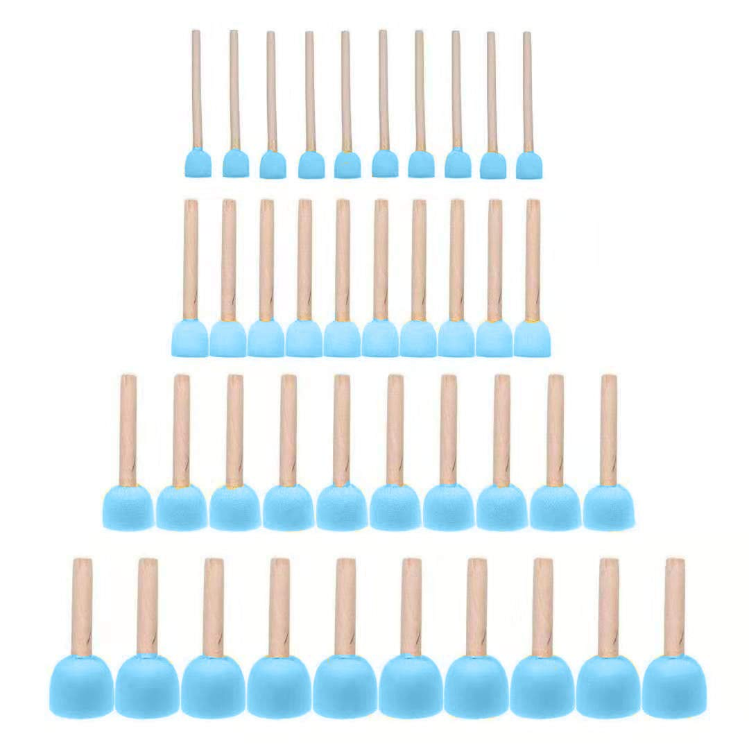 JMAF 40-Pieces Assorted Size Round Sponges Brush Set, Paint Tools for Kids by JMAF