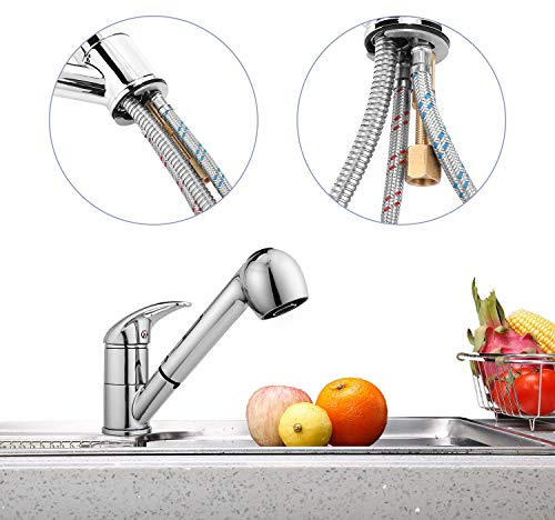 Kitchen Kitchen Faucet, Modern Commercial Stainless Steel Single Bar Faucet Chrome Pull Down/Out Vessel Sink Faucets, Silver modern sink faucets