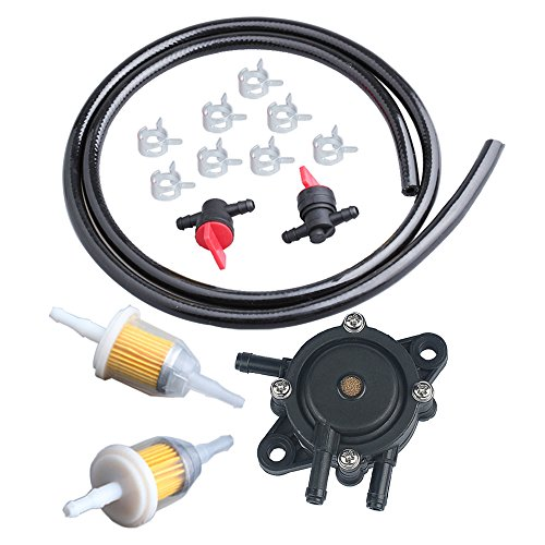 HIPA Fuel Pump 24 393 04-S / 24 393 16-S with 25 050 22-S / 25 050 03-S Fuel Filter & Fuel Line Shut Off Valve for Kohler Engines Lawn Mower Parts