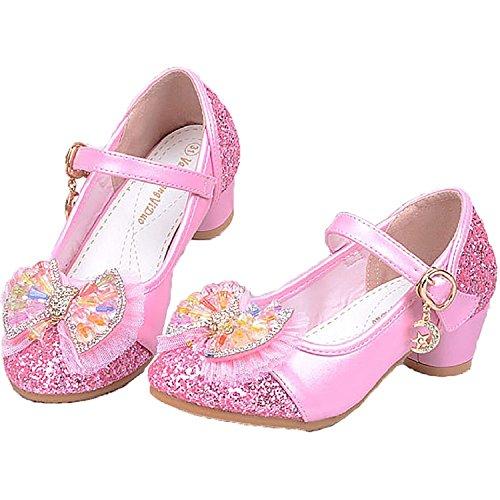 Cystyle Mädchen Prinzessin Schuhe Ballerinas Schuhe mit dem Absatz - Pailletten Herbst Frühling Kostüme Verkleidung Weihnachtsgeschenk (31=inner length 20cm, Rosa)