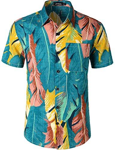 - JOGAL Men's Flower Casual Button Down Short Sleeve Hawaiian Suits Medium A343 Blue