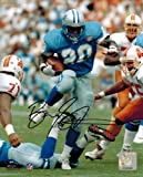 Barry Sanders Signed Autographed Lions Blue Jersey Action 8x10 Photo
